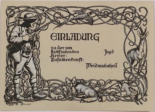 "Karl Friedrich GSUR - Zeichnung Aquarell - ""Invitation Card Design"", ca.1900"