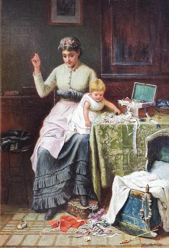 Jane Maria BOWKETT - Pittura - Mummy's Little Helper
