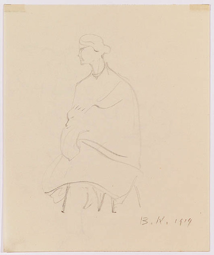 Broncia KOLLER-PINELL - Drawing-Watercolor - Lady with Dog, ca 1900