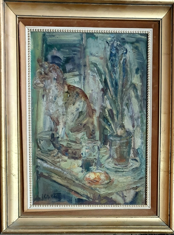 Léopold KRETZ - Painting - Still Life with a Cat