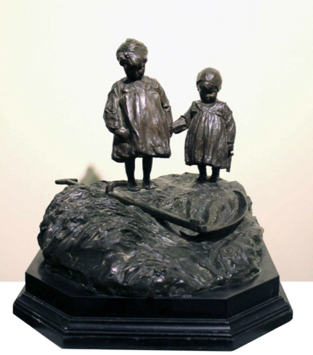 Giovanni PRINI - Skulptur Volumen - L'erba morta, la falce e i bimbi (1902)