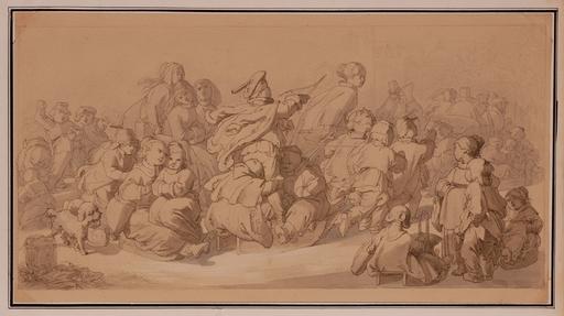"Jakob GRÜNENWALD - Dessin-Aquarelle - ""Winter Amusements"" by Jakob Grünenwald, ca 1850"