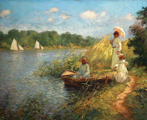 Jacques MULLER - Pintura - au bord de l'etang