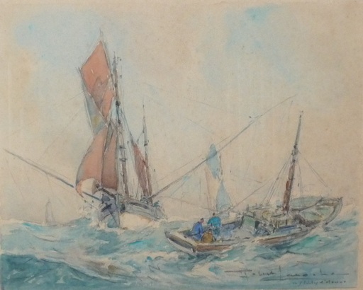 Robert LAROCHE - Drawing-Watercolor - la peche