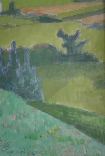 Louis ROY - Dessin-Aquarelle - Paysage vallonné