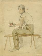 Raffaele ARMENISE (1852-1925) -  MAN WITH A GLASS OF WINE