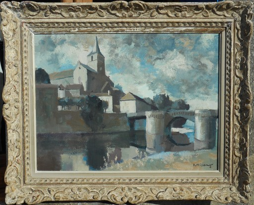 Henri PLISSON - Painting - MONTMORILLON le soir