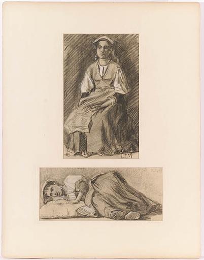 """Robert Heinrich VON DOBLHOFF - Disegno Acquarello - """"Two Studies"""", 1899"""