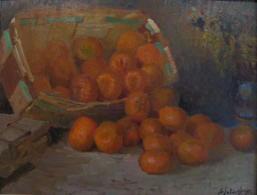 Alberto SALIETTI - Peinture - Cesta di arance, 1915