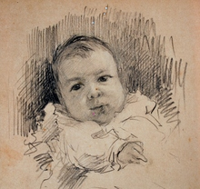 Adolph VON MENZEL - Drawing-Watercolor - Untitled (Portrait of a Baby)