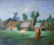 Gérard COCHET - Pintura - Ferme dans les environs de Mesnil Thébault (Manche)