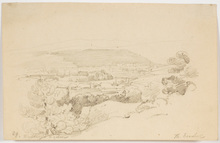 """Thomas ENDER - Dibujo Acuarela - """"View of Castle Weilburg by Vienna"""", middle 19th C., drawing"""