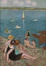 Maurice DENIS - Pintura - Baigneuses dans la rade, Perros (parfois nommé Coin de plage