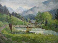 Alfred Karl Julius VON SCHÖNBERGER - Painting - Alpine Landscape with Waterfall
