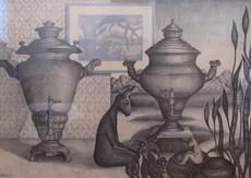 Valentina KROPIVNICKAJA - Drawing-Watercolor - Two Samovars