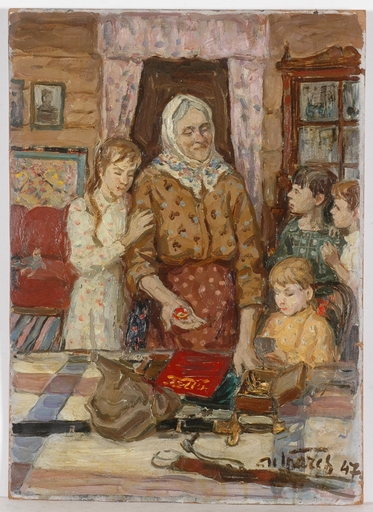 "Mikhail GRATCHEV - Painting - ""Story about Grandpa"", Oil Painting, 1947"