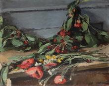 Josué GABORIAUD - Painting - Nature morte aux fleurs des champs et aux cerises