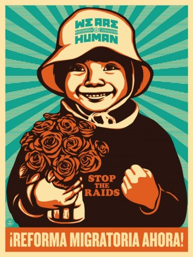 Shepard FAIREY - Druckgrafik-Multiple - IMMIGRATION REFORM GIRL (SPANISH VERSION)