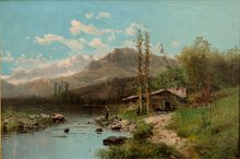 "Alfred GODCHAUX - Pintura - ""GRAND PAYSAGE DES PYRENEES"""