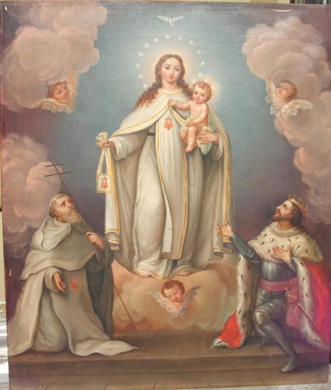 Jacinto GOMEZ Y PASTOR - Pintura - Virgen de las Mercedes, San Pedro Nolasco y Jaime I