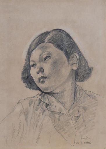 Tsuguharu FOUJITA - Dibujo Acuarela - Portrait de jeune japonaise