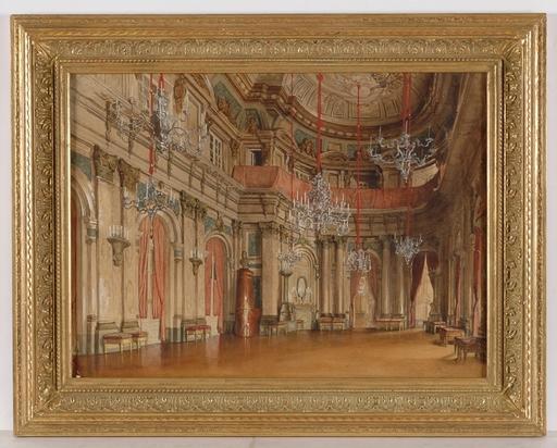 "Frans HEINRICH - Drawing-Watercolor - ""Palazzo Interior"", Watercolor"