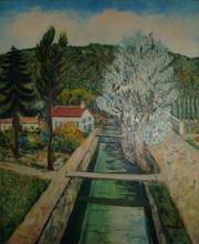 Élisée MACLET - Painting - Paysage à la rivière
