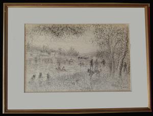 Hélène NEVEUR - Dibujo Acuarela - Sannois Bords de Seine