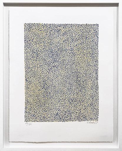 Günther UECKER - Print-Multiple - Permutation Blau auf Gelb