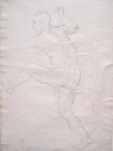 Lovis CORINTH - Disegno Acquarello - Fight of Odysseus with the Beggar / Kampf des Odysseus mit d