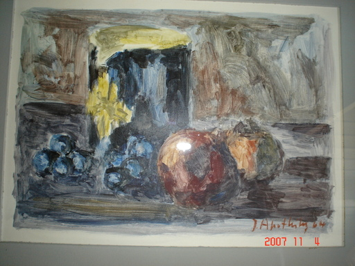 Jean APOTHELOZ - Pintura - raisins et grenades