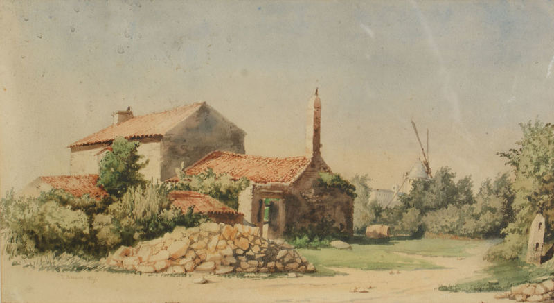 Alfred Victor ROUSSIN - Drawing-Watercolor - Campagne Vendéenne, Paysage au moulin