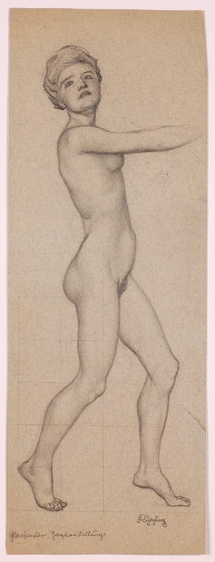"Remigius GEYLING - Disegno Acquarello - ""Female Nude"", Study by Remigius Geyling, ca 1900"
