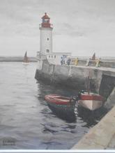 Edmond DAYNES - Painting - Le phare de Guilvenec.