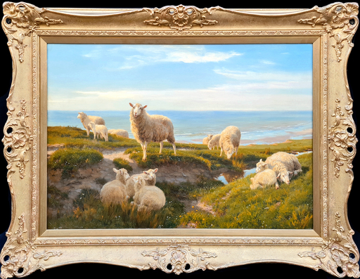 Henry William Banks DAVIS - Pintura - Sheep Grazing on the Cliff Top