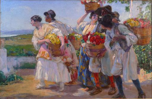 José MONGRELL Y TORRENT - Painting - 'Floristas valencianos'