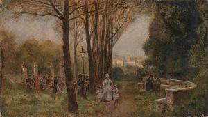 Giuseppe DE NITTIS - Pintura - Figures in a Parisian Park