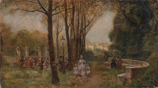 Giuseppe DE NITTIS - 绘画 - Figures in a Parisian Park