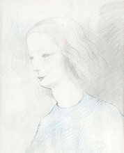 Marie LAURENCIN - Dibujo Acuarela - PROFILE OF A YOUNG WOMAN