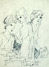 Antonio LAGO RIVERA - Dessin-Aquarelle - Tres mujeres