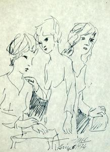 Antonio LAGO RIVERA - Dibujo Acuarela - Tres mujeres
