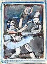 Georges ROUAULT - Dibujo Acuarela - Scène de cirque, écuyère et clown