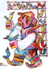 Jovan OBICAN - Painting - Human Bird Carrier