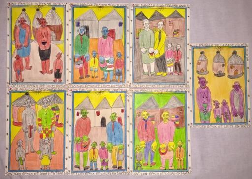 Frédéric BRULY BOUABRÉ - Dibujo Acuarela - Une famille de race