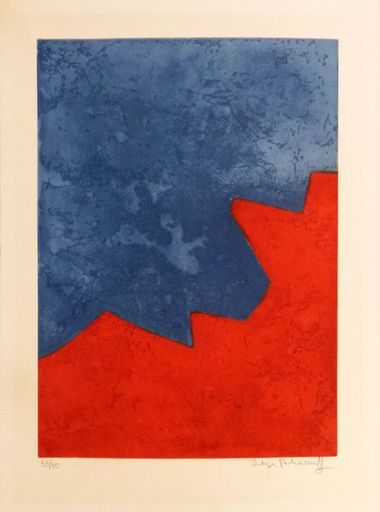 Serge POLIAKOFF - Print-Multiple - Composition rouge et bleue n°XXXII