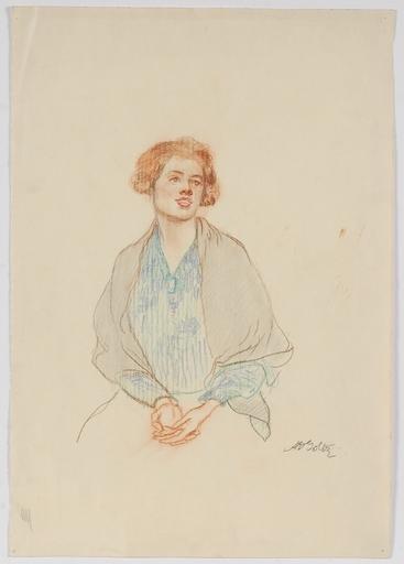 """Alexander Demetrius GOLTZ - Zeichnung Aquarell - """"Portrait Study"""" by Alexander Demetrius Goltz"""