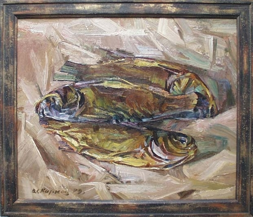 "Vassili KARKOTS - Gemälde - ""Still Life with Fish"", Oil Painting by Vasili Karkots"