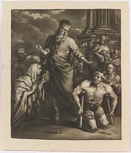 Paul II VAN SOMER - Pintura - Biblical Scene, Mezzotint, 17th Century
