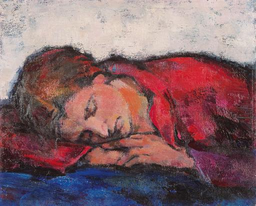 Fritz JAEGER - Peinture - Schlafende Emilie