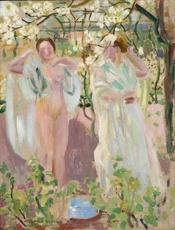 Maurice DENIS - Pintura - Deux femmes sous un arbre en fleur